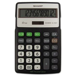 Sharp - ELR287BBK - Sharp Calculators Sharp ELR287 Eco Calculator - 12 Digits - LCD - Battery/Solar Powered - 0.6 x 4.3 x 6.9 - Black, Silver - 1 Each