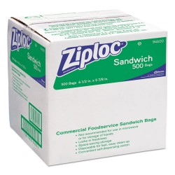 S.C. Johnson & Son - 682255 - Ziploc Sandwich Bags - 6 Width x 6.50 Length x 1.20 mil (30 Micron) Thickness - Clear - 1Carton - 500 Per Carton - Sandwich, Food