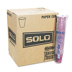 Solo Cup - 412SIN - Bistro Design Hot Drink Cups, Paper, 12 oz., Maroon, 20 Bags of 50/Carton