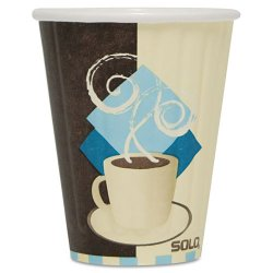 Solo Cup - IC8-J7534 - Duo Shield Insulated Paper Hot Cups, 8oz, Tuscan, Chocolate/Blue/Beige, 1000/Ct