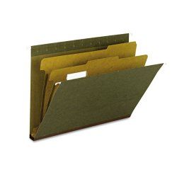 "Smead - 65110 - Smead 100% Recycled Hanging Classification Folders - 8 1/2"" x 11"" Sheet Size - 2"" Expansion - 2 Fastener(s) - 1"" Fastener Capacity - 1/5 Tab Cut - Top Tab Location - 2 Divider(s) - 14 pt. Folder Thickness - Green - Recycled - 10 / Box"