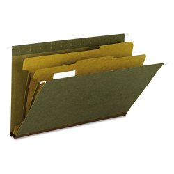 "Smead - 65160 - Smead New! 100% Recycled Hanging Classification Folders - Legal - 8 1/2"" x 14"" Sheet Size - 2"" Expansion - 2 Fastener(s) - 1"" Fastener Capacity - 1/5 Tab Cut - Top Tab Location - 2 Divider(s) - 14 pt. Folder Thickness - Green - Recycled -"