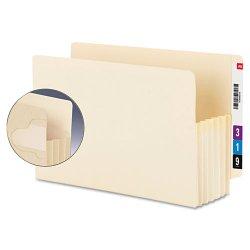 "Smead - 75160 - Smead Extra Wide End Tab Manila TUFF® Pockets - Letter - 8 1/2"" x 11"" Sheet Size - 5 1/4"" Expansion - End Tab Location - Manila - Manila - Recycled - 10 / Box"
