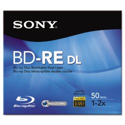 Sony - BNE50RH - Sony 2x BD-RE Double Layer Media - 50GB - 120mm Standard - 1 Pack Jewel Case