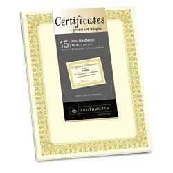 SouthWorth - CTP1V - Premium Certificates, Ivory , Fleur Gold Foil Border, 66 lb, 8.5 x 11, 15/Pack