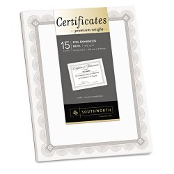 SouthWorth - CTP1W - Premium Certificates, White, Fleur Silver Foil Border, 66 lb, 8.5 x 11, 15/Pack