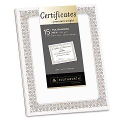 SouthWorth - CTP2W - Premium Certificates, White, Spiro Silver Foil Border, 66 lb, 8, 5 x 11, 15/Pack