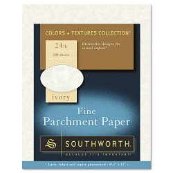 """SouthWorth - P984CK - Southworth Parchment Paper - Letter - 8.50"""" x 11"""" - 24 lb Basis Weight - Parchment - 100 / Pack - Ivory"""