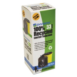 Stor-A-File - T3340K13R - Recycled Plastic Trash Bags, 33 gal, 1.3 mil, 33 x 40, Brown/Black, 180/Carton