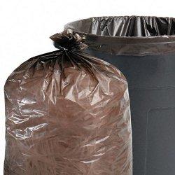 Stor-A-File - T2424B10 - 100% Recycled Plastic Garbage Bags, 7-10gal, 1mil, 24 x 24, Brown/Black, 250/CT