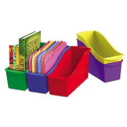 Storex - 70105U06C - Storex Book Bin Set - 1 Compartment(s) - 12.6 Height x 5.3 Width x 14.3 Depth - Recycled - Red, Green, Blue, Purple, Yellow - Plastic - 5 / Set