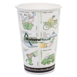 Savannah / NatureHouse - NAH-C008R - Compostable Insulated Ripple-Grip Hot Cups, 8oz, White, 500/Carton