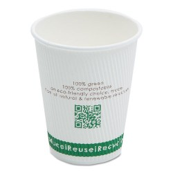 Savannah / NatureHouse - C012R - Compostable Insulated Ripple-Grip Hot Cups, 12oz, White, 500/Carton