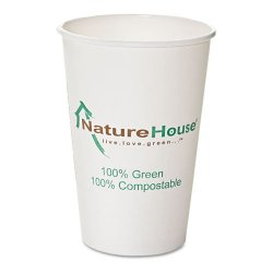 Savannah / NatureHouse - NAH-C016 - Compostable Live-Green Art Hot Cups, 16oz, White, 50/Pack