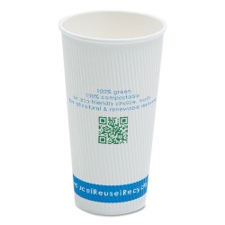 Savannah / NatureHouse - C020R - Compostable Insulated Ripple-Grip Hot Cups, 20oz, White, 500/Carton