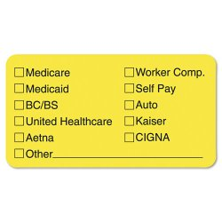 Tabbies - 02940 - Tabbies Medical Office Insurance Check Labels - 1 3/4 Width x 3 1/4 Length - Yellow - 250 / Roll