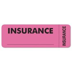 Tabbies - 06420 - Tabbies INSURANCE Labels - 3 Width x 1 Length - Pink - 250 / Roll - 250 / Roll