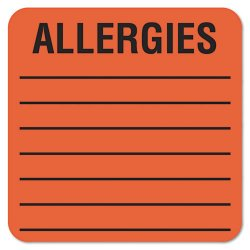 Tabbies - 40560 - Tabbies Square ALLERGIES Labels - Permanent Adhesive - 2 Width x 2 Length - Square - Fluorescent Red - 500 / Roll - 500 / Roll