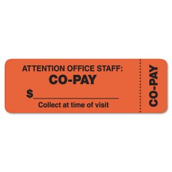 Tabbies - 40566 - Tabbies CO-PAY Wrap Labels - Collect at Time of Visit, Attention Office Staff: Co-Pay - 3 Width x 1 Length - Rectangle - Fluorescent Red Orange - 500 / Roll - 500 / Roll