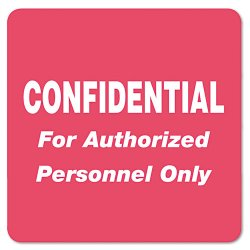 Tabbies - 40570 - Tabbies Confidential Auth. Personnel Only Label - 2 Width x 2 Length - Rectangle - Red - 500 / Roll - 500 / Roll