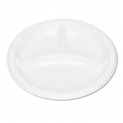 Tablemate - 19644WH - Plastic Dinnerware, Compartment Plates, 9 dia, White, 125/Pack