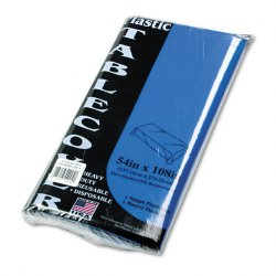 Tablemate - 549BL - Tablemate Heavy-duty Plastic Table Covers - 108 Length x 54 Width - 6 / Pack - Plastic - Blue