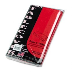 Tablemate - 549RD - Tablemate Heavy-duty Plastic Table Covers - 108 Length x 54 Width - 6 / Pack - Plastic - Red