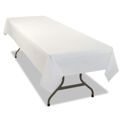 Tablemate - 549WHCT - Tablemate Heavy-duty Plastic Table Covers - 108 Length x 54 Width - 24 / Carton - Plastic - White