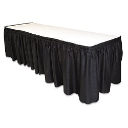 Tablemate - LS2914BK - Tablemate Disposable Tableskirt - 29 Length x 14 ft Width - Adhesive Backing - 1 Each - Linen - Black