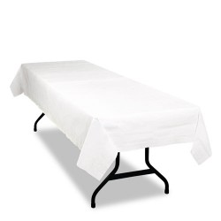 Tablemate - PT549WH - Tablemate Table Set Poly Tissue Table Cover - 108 Length x 54 Width - 6 / Pack - Poly, Tissue - White