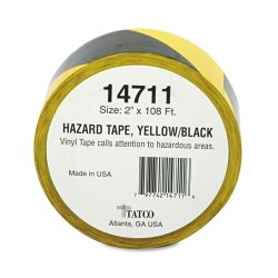 "Tatco - 14711 - Tatco Hazard/Aisle Marking Tape - 2"" Width x 36 yd Length - Adhesive Backing - 1 Roll - Yellow, Black"