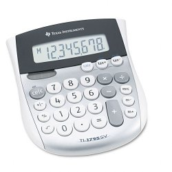 Texas Instruments - TI-1795SV - Texas Instruments TI1795 Angled SuperView Calculator - Dual Power, Sign Change, Angled Display - 8 Digits - LCD - Battery/Solar Powered - 1 x 4.3 x 5.1 - Gray - 1 Each