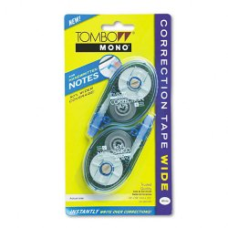 American Tombow - 68682 - MONO Wide-Width Correction Tape, Non-Refillable, 1/4 x 394, 2/Pack