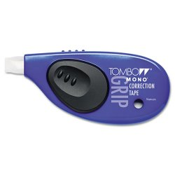 American Tombow - 68762 - MONO Grip Top-Action Correction Tape, Black/Blue/Pink/Purple, 1/5 x 394, 4/Pk