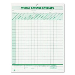 Tops - 1242 - Weekly Expense Envelope, 8 1/2 x 11, 20 Forms