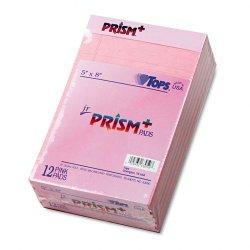 Tops - 63050 - Prism Plus Colored Legal Pads, 5 x 8, Pink, 50 Sheets, Dozen