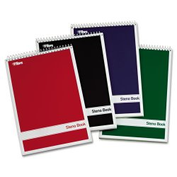 Tops - 80221 - Steno Book w/Assorted Colored Covers, 6 x 9, Green Tint, 80 Sheets, 4 Pads/Pack