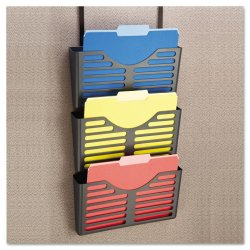 Universal Office Products - UNV08163 - Recycled Plastic Cubicle Triple File Pocket, Black