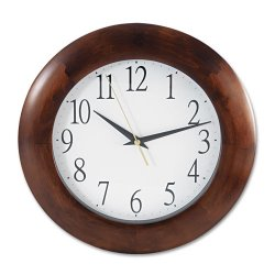 "Universal Office Products - UNV10414 - Round Wood Clock, 12 3/4"", Cherry"