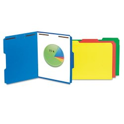Universal Office Products - UNV13521 - Deluxe Reinforced Top Tab Folders, 2 Fasteners, 1/3 Tab, Letter, Blue, 50/Box