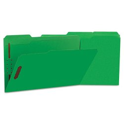 Universal Office Products - UNV13526 - Deluxe Reinforced Top Tab Folders, 2 Fasteners, 1/3 Tab, Legal, Green, 50/Box