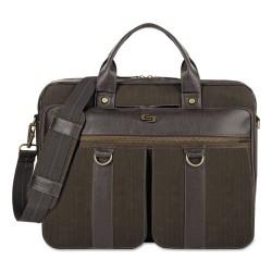 Classic Luggage / Sterling & Burke - EXE335-3 - Bradford Briefcase, 15.6, 16 x 3 3/4 x 12, Olive Denim/Espresso
