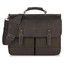 Classic Luggage / Sterling & Burke - EXE336-3 - Bradford Briefcase, 15.6, 16 1/4 x 5 x 12, Olive Denim/Espresso