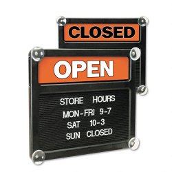 U. S. Stamp & Sign - 3727 - Double-Sided Open/Closed Sign w/Plastic Push Characters, 14 3/8 x 12 3/8