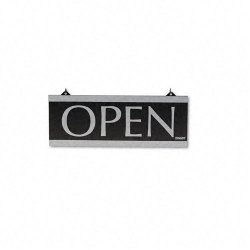 U. S. Stamp & Sign - 4246 - Century Series Reversible Open/Closed Sign, w/Suction Mount, 13 x 5, Black