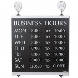 U. S. Stamp & Sign - 4247 - Century Series Business Hours Sign, Heavy-Duty Plastic, 13 x 14, Black