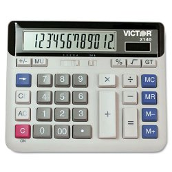 "Victor Technology - 2140 - Victor PC Touch 2140 Desktop Calculator - Independent Memory - 12 Digits - LCD - Battery/Solar Powered - 7.5"" x 6"" x 1.6"" - 1 Each"