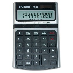 "Victor Technology - 9600 - Victor VCT9600 Desktop Business Calculator - Independent Memory - 10 Digits - LCD - Battery/Solar Powered - 6.3"" x 4.3"" x 1.4"" - 1 Each"