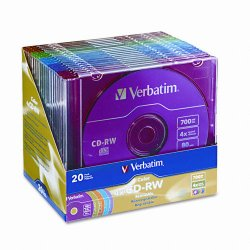 Verbatim / Smartdisk - 94300 - Verbatim CD-RW 700MB 2X-4X DataLifePlus with Color Branded Surface and Matching Case - 20pk Slim Case, Assorted - 120mm - 1.33 Hour Maximum Recording Time