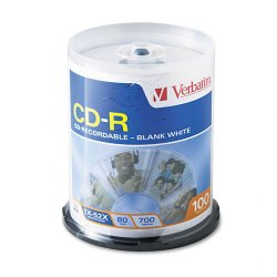 Verbatim / Smartdisk - 94712 - Verbatim CD-R 700MB 52X with Blank White Surface - 100pk Spindle